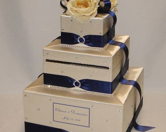 3 Tier Champagne and Navy blue Card Box-Flowers, Rhinestone accents