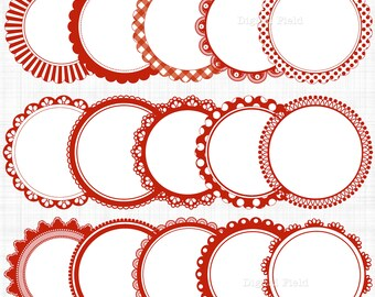 Red white scalloped circle frames labels clip art set - printable digital clipart - instant download