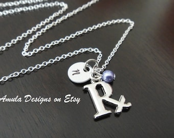 Rx Pharmacist Pharmacy Handstamped Personalized Pearl Birthstone Initial Necklace