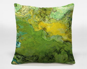 Decorative pillow cover with abstract art 16x16 and 18x18 yellow and green accent pillow, throw pillow cover, Spring