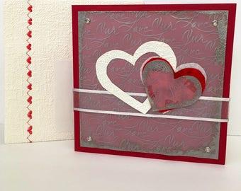Congratulations card, artistic handmade card, hearts card, bridal shower card