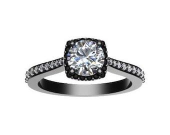 Diamond Halo Engagement Ring Forever One Moissanite Engagement Ring 14K Black Gold Engagement Ring Round Diamond Alternative Center - V1082