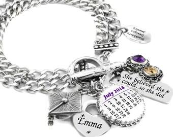 Graduation Bracelet, Custom Graduation Jewelry, Graduation Charm Bracelet, Personalized Graduation Gift, Class of 2018