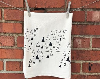 Flour Sack Tea Towel, Dish Towel,Kitchen Towel, Hostess Gift Screen Printed with Triangles