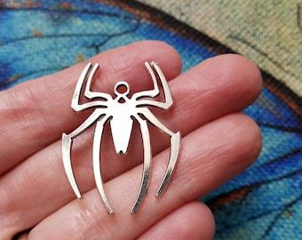 Silver Spiders, Spider Pendant, Silver Charm, Halloween Jewelry, Spiderman Symbol, Zinc Alloy, Spider Web, Bulk Pendant Lot, #133C