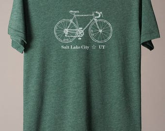 Salt Lake City bike tee, SLC t-shirt, Utah tee, Utah t-shirt, SLC cycling