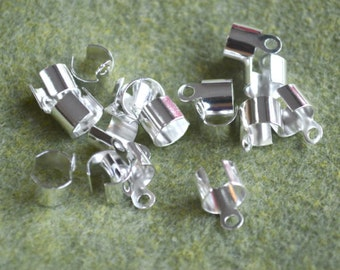 100pcs Crimp Cord Ends Tip Silver-Plated Steel 9x6mm For 7.5mm Cord Fold Over