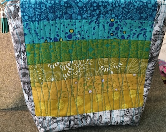Beautiful Alison Glass Sun Prints Strip Quilted Zippered Pouch