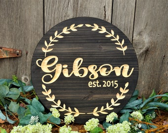 Couple's Name Sign Gift Established Sign Wooden Sign | Last Name Sign Custom Wood Signs| Established Signs House Warming Gift Couples Gifts