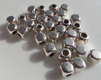 4mm 100CT Square Silver Toned Beads, S27