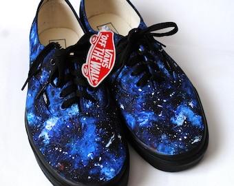 Custom handpainted galaxy VANS, galaxy shoes, blue galaxy shoes