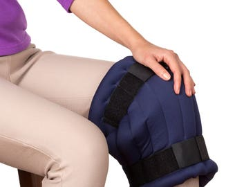 Extra Large Knee Ice Wrap Stretchy Fabric Filled with Flax Seeds, Blue, Hot and Cold Pad, Blue