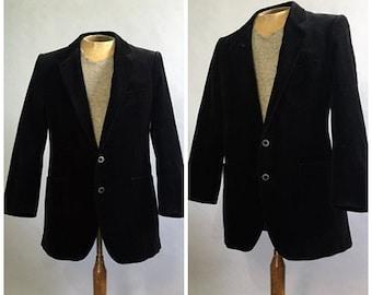 Vintage Mens Yves Saint Laurent Black Velvet Smoking Jacket Suit Coat Velvet Blazer Sport Coat Vintage Retro 1970s Prom Suit Made in France