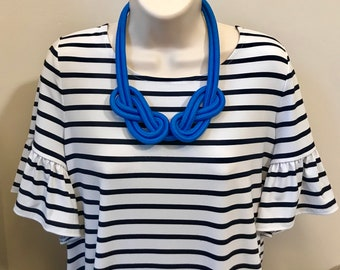 Sailor Saphire Royal Snorkel Blue Nautical Knotted Rope Knot Statement Necklace