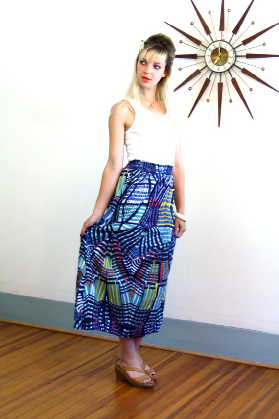 Long Maxi Skirt, Vintage 70s skirt, Colorful Geometric print, Navy Blue Aqua Green, Rouched High Waist, 80s Rayon Skirt, 1970s maxi skirt