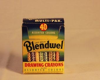 Vintage Blendwel drawing crayons in original cardboard box.