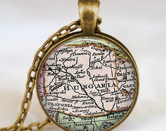 Hungary map necklace, Hungary  pendant, hungary jewelry, keepsake friends family gift idea with gift bag