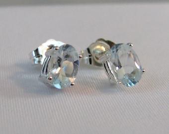 Aquamarine Post Earrings in Sterling Silver, Aquamarine Jewelry, March Birthstone, 6x4mm Aquamarine Stud Earrings, Aquamarine Earrings