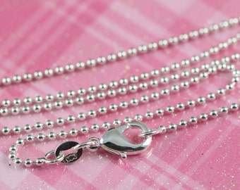 Ball Chain Necklaces 2 mm Sterling Silver and Rhodium Plated, Bead Chain Necklaces, 16 18 20 22 and 24 inch Lenghts