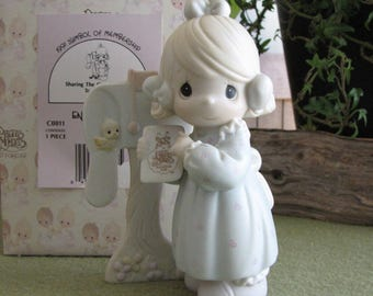 Precious Moments Sharing the Good News Together Figurine Retired 1991 Symbol of Membership Vessel Symbol Collector Club
