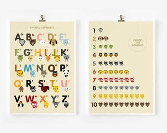 Children decor, Animal Alphabet Uppercase and Lowercase and Count the Numbers Poster, Kids wall art animal, Nursery Art, Classroom Decor