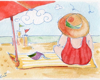 ACEO  Original  Watercolor Painting Fat Lady on the Beach