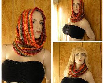 """Sunrise crochet hooded cowl, cowl, infinity scarf,  hood, pixie hood, crochet in blended sunrise shades, it is 28"""" around and 16"""" long"""