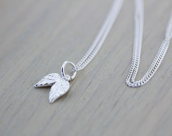 ANGEL WING NECKLACE/Angel Necklace/Wing Necklace/Guardian Angel Necklace/Silver Feather Necklace/Silver Wing Necklace/Memorial Necklace