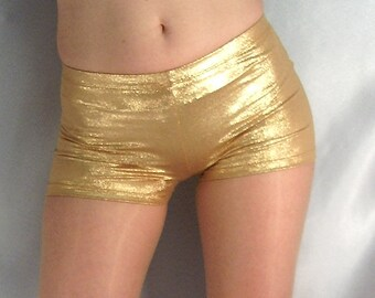 Metallic micro shorts hot pants gold