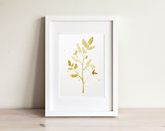 Leaf watercolor illustration - handmade