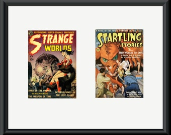 Two pulp magazine covers - Strange Worlds and Startling Stories - in dual mount. Special offer listing