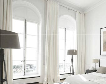 White Curtain Panels, White drapes, Custom Curtains, Off White Curtains, Linen Blend Heavy Weight, 50% Blackout, Extra Long