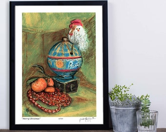"""Limited Edition Art Print, Signed and numbered, """"Merry Christmas"""", 8"""" x 10"""", Small Size art, Papa Noel, Paris, Wall Decor,"""