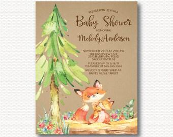 Fox Baby Shower Invitation, Woodland, Forest, Kraft, Baby Shower, Cute, Gender Neutral, Boy, Girl, Unique, Digital, Printable