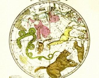 Burritt's Sky Map, Celestial Map of the Heavens Natural History Print by Elijah H. Burritt Illustration to Frame or for Paper Arts PSS 3533