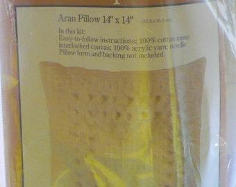 Caron - Aran - Needlepoint Pillow Kit - Complete - 1978 - 14 x 14