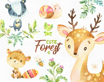 Cute Forest 4. Watercolor little animals clipart, deer, badger, beaver, frog, bee, snail, wreath, floral, sticker, babyshower, woodland, cft