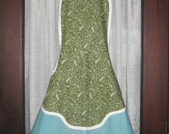 Green and Teal Cotton Print Kangaroo Pocket Apron