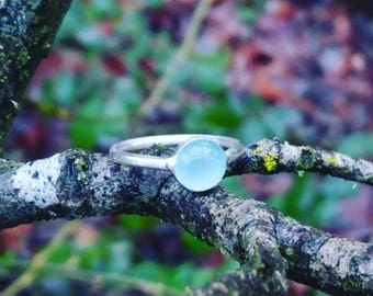 Sterling Silver + Aqua Chalcedony Gemstone + Aqua Chalcedony Ring