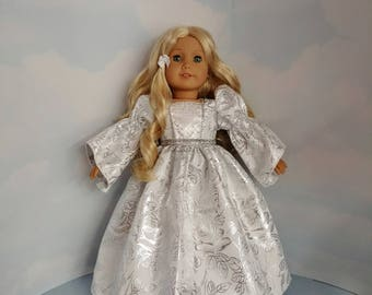 Silver Princess Gown 18 inch doll clothes