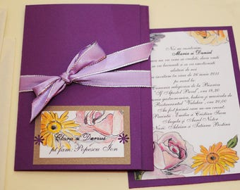 Hand Painted Blooms Collection, Wedding Invitation Custom Watercolour