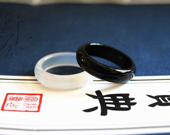 Natural Transparent white and black jade ring,Simple Band Ring( US size 5- 10)