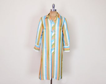 Vintage 60s 70s Stripe Dress 100% Silk Dress Shirt Dress Shift Dress Midi Dress Day Dress 60s Dress Mod Dress 70s Dress Hippie Dress S Small