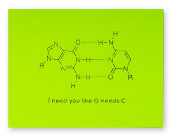 Biology Nerd Valentine Card // DNA Love Anniversary Chemistry card - DNA nucleotide (choose your colour - DNA pair)