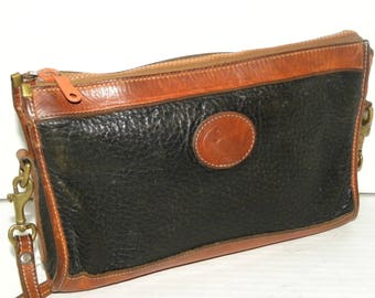 "1970s 80s Dooney & Bourke 2 Tone Black AWL Brown Leather Shoulder Bag / Cross Body Purse 10.5"" x 7.5"" x 2.5"""