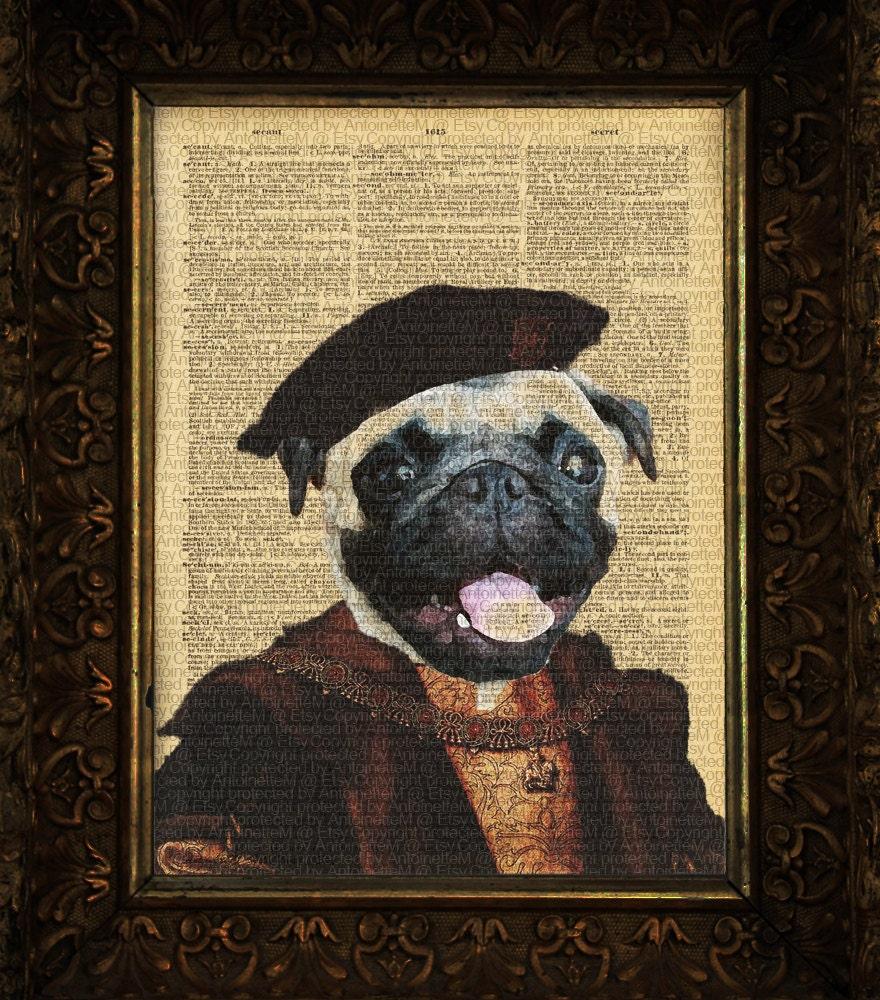 Magellan the Pug Explorer dog art print on Antique Dictionary