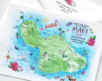 Save The Date Maui Hawaii, Beach Wedding Save The Date Card, Beach Save The Date, Destination Wedding Save The Date, Maui Hawaii