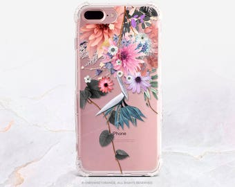 iPhone 8 Case iPhone X Case iPhone 7 Case Fall Floral Clear GRIP Rubber Case iPhone 7 Plus Clear Case iPhone SE Case Samsung S8 Case U20