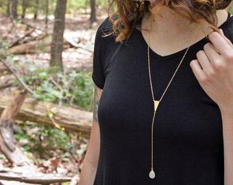 Athena Y Necklace - Gold Tone Delicate Arrowhead and Moonstone Lariat Necklace - Wild Heart Collection, Yugen, Greek Mythology, Boho Jewelry