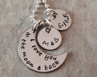 Personalized I Love You To The Moon And Back necklace with name charms